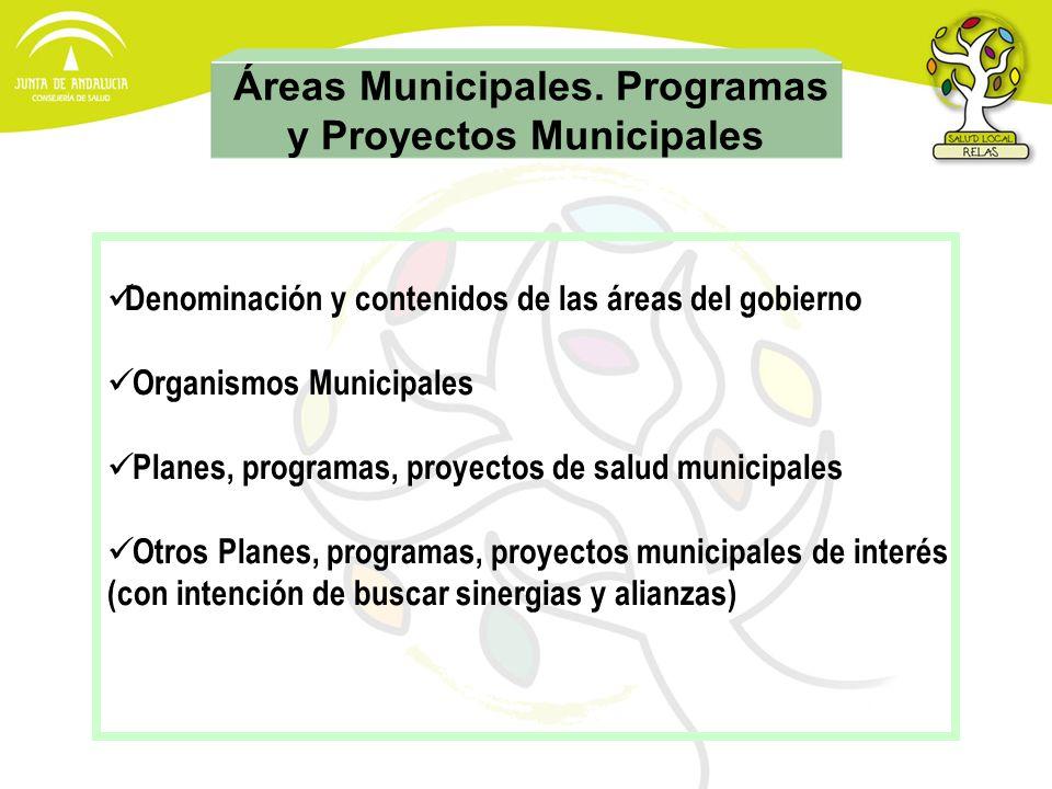 Áreas Municipales. Programas y Proyectos Municipales Denominación y contenidos de las áreas del gobierno Organismos Municipales Planes, programas, pro