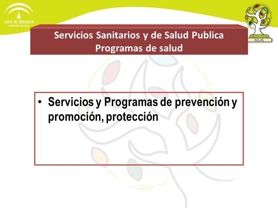 Servicios Sanitarios y de Salud Publica Programas de salud Servicios y Programas de prevención y promoción, protección
