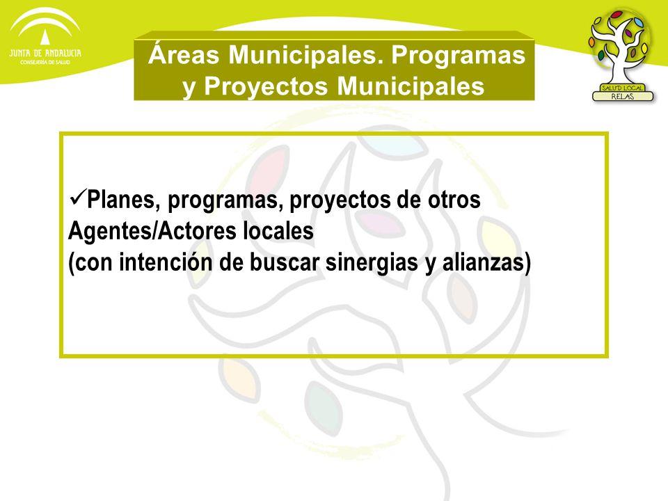 Áreas Municipales. Programas y Proyectos Municipales Planes, programas, proyectos de otros Agentes/Actores locales (con intención de buscar sinergias