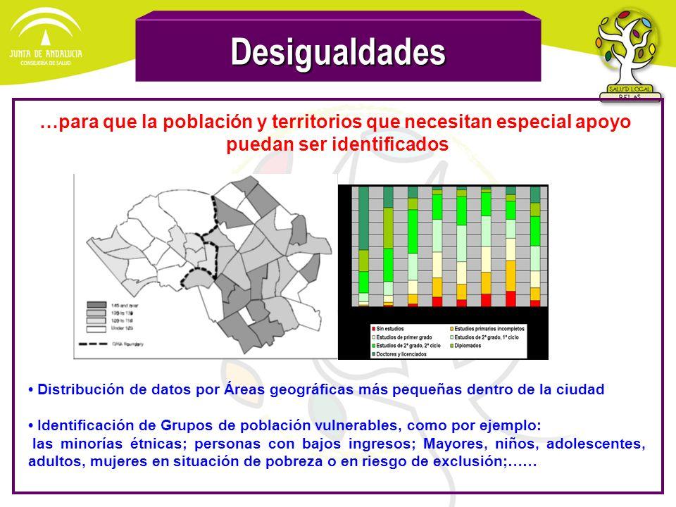 Desigualdades Distribución de datos por Áreas geográficas más pequeñas dentro de la ciudad Identificación de Grupos de población vulnerables, como por