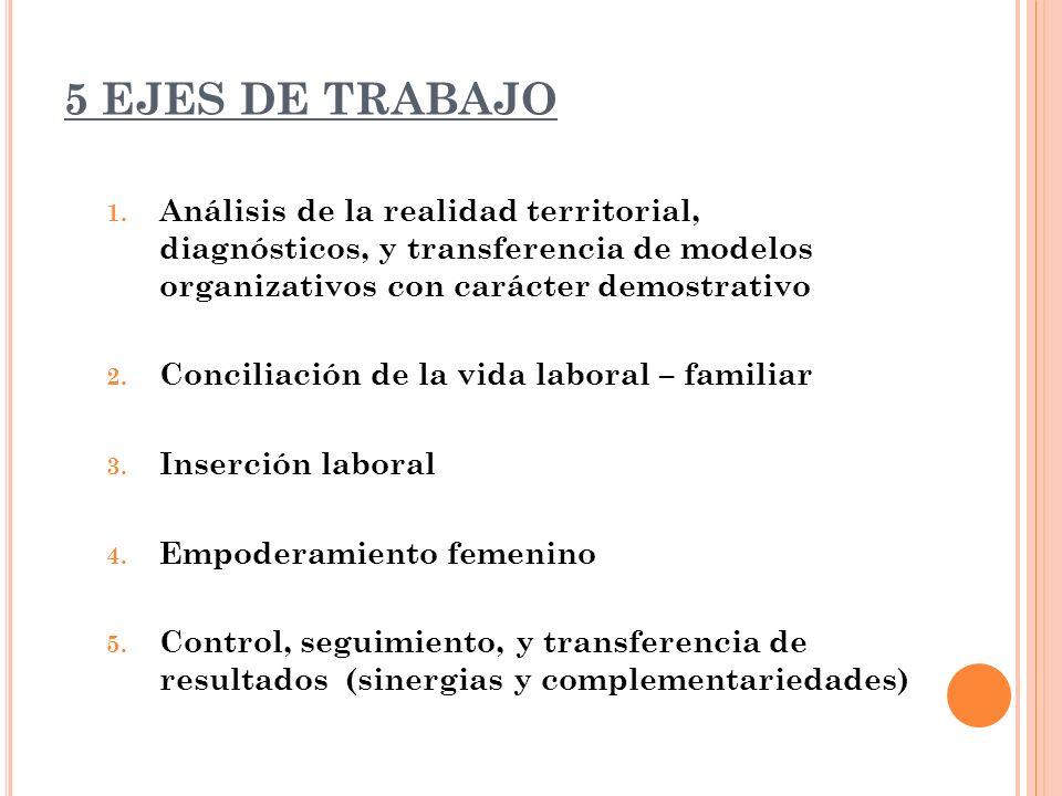 5 EJES DE TRABAJO 1. Análisis de la realidad territorial, diagnósticos, y transferencia de modelos organizativos con carácter demostrativo 2. Concilia