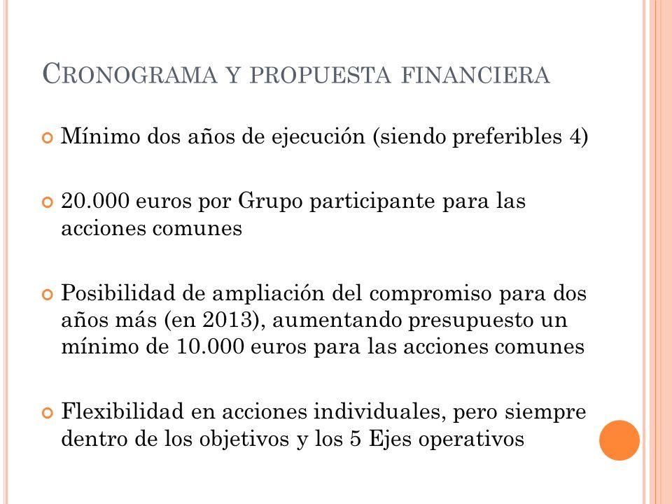 C RONOGRAMA Y PROPUESTA FINANCIERA Mínimo dos años de ejecución (siendo preferibles 4) 20.000 euros por Grupo participante para las acciones comunes P