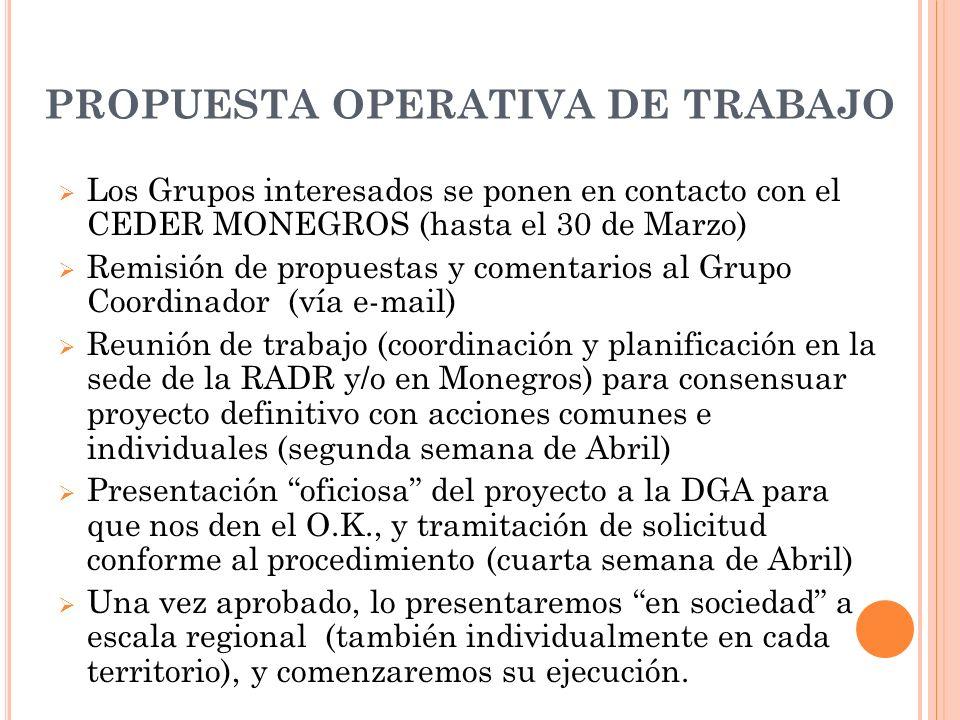 PROPUESTA OPERATIVA DE TRABAJO Los Grupos interesados se ponen en contacto con el CEDER MONEGROS (hasta el 30 de Marzo) Remisión de propuestas y comen