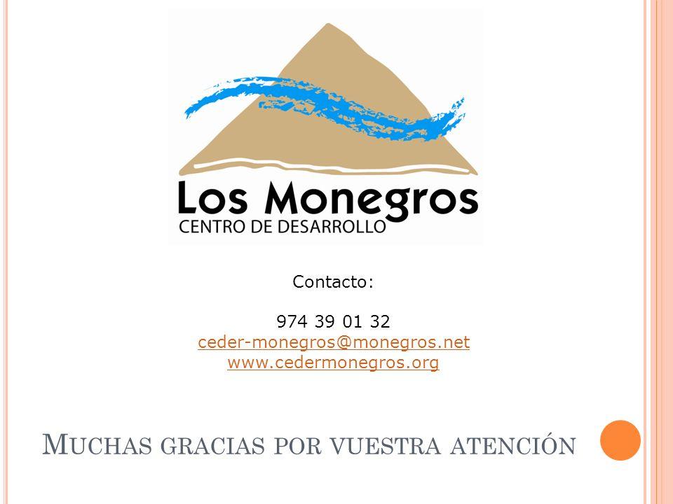 M UCHAS GRACIAS POR VUESTRA ATENCIÓN Contacto: 974 39 01 32 ceder-monegros@monegros.net www.cedermonegros.org
