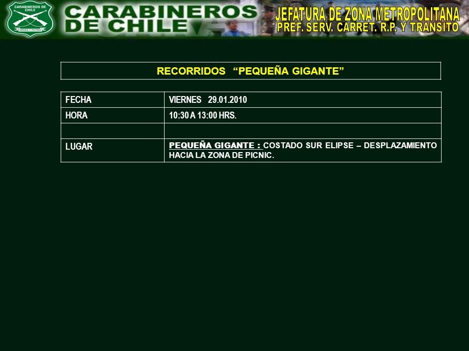 RECORRIDOS PEQUEÑA GIGANTE FECHAVIERNES 29.01.2010 HORA10:30 A 13:00 HRS. LUGAR PEQUEÑA GIGANTE : COSTADO SUR ELIPSE – DESPLAZAMIENTO HACIA LA ZONA DE