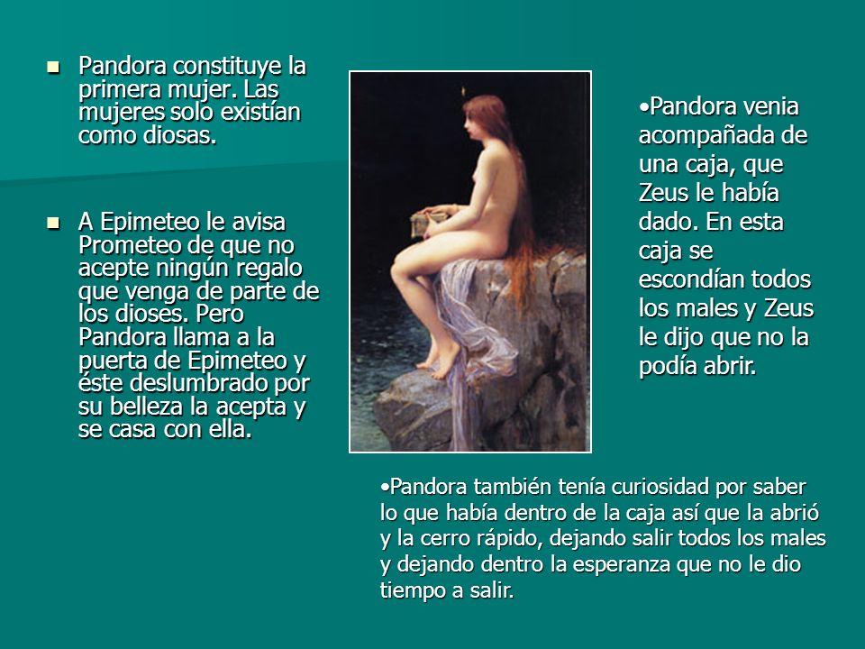 Pandora constituye la primera mujer. Las mujeres solo existían como diosas. Pandora constituye la primera mujer. Las mujeres solo existían como diosas