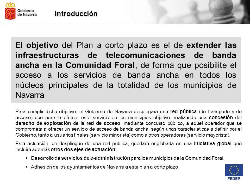 Introducción Para cumplir dicho objetivo, el Gobierno de Navarra desplegará una red pública (de transporte y de acceso) que permita ofrecer este servi