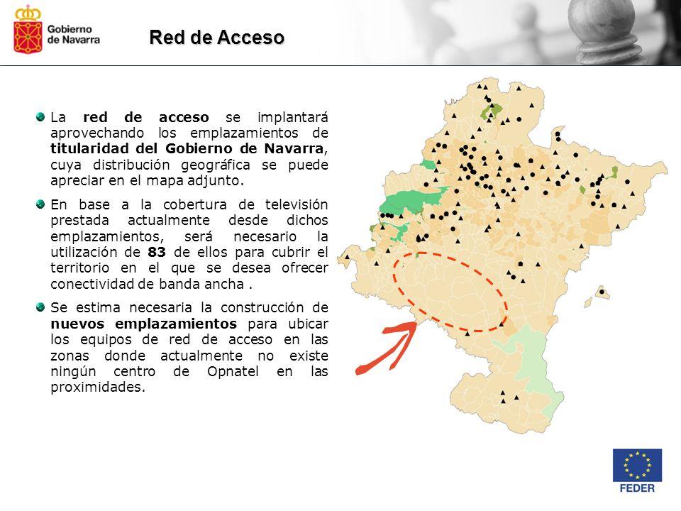 Red de Acceso La red de acceso se implantará aprovechando los emplazamientos de titularidad del Gobierno de Navarra, cuya distribución geográfica se p