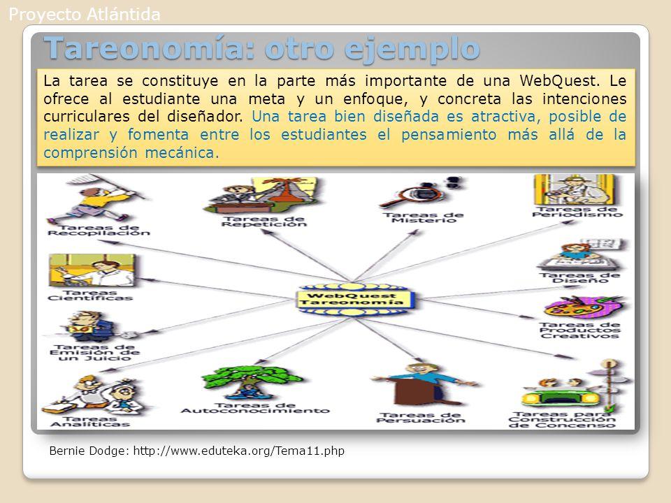 Tareonomía: otro ejemplo La tarea se constituye en la parte más importante de una WebQuest. Le ofrece al estudiante una meta y un enfoque, y concreta