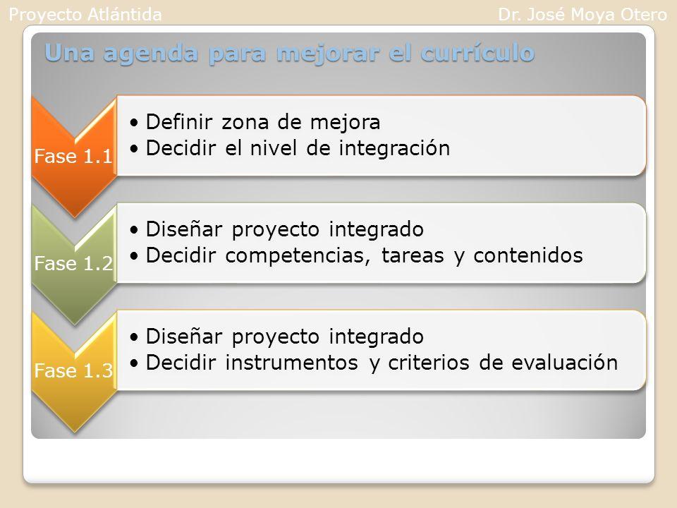 Una agenda para mejorar el currículo Fase 1.1 Definir zona de mejora Decidir el nivel de integración Fase 1.2 Diseñar proyecto integrado Decidir compe