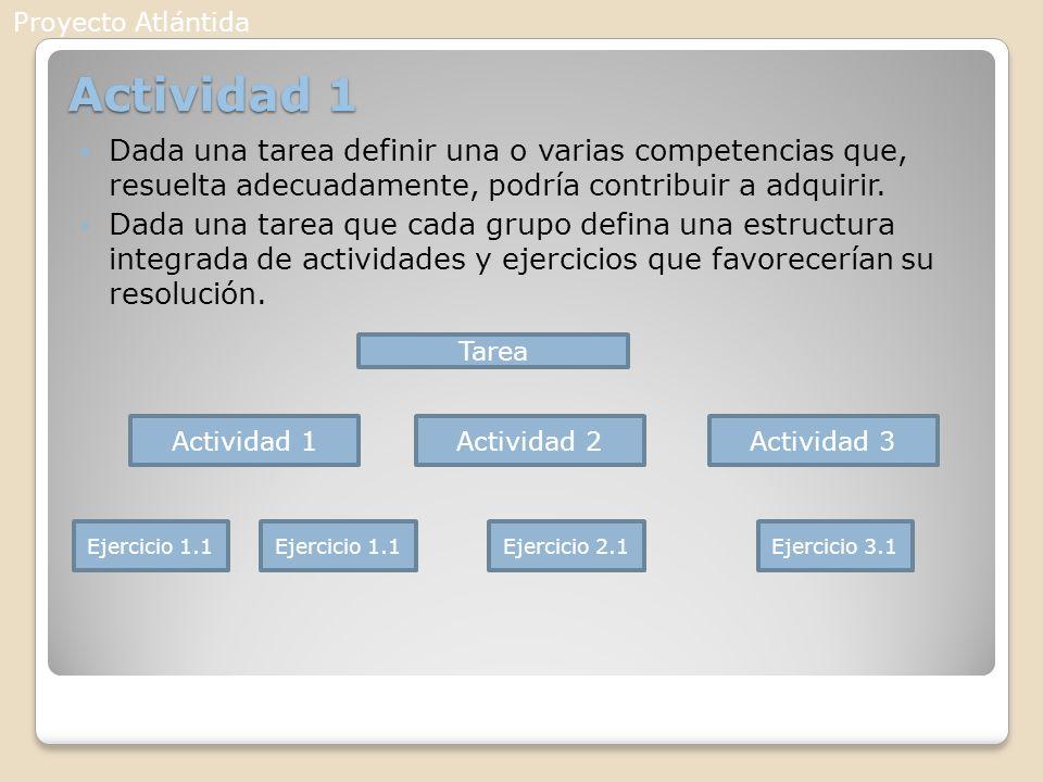 Actividad 1 Dada una tarea definir una o varias competencias que, resuelta adecuadamente, podría contribuir a adquirir. Dada una tarea que cada grupo
