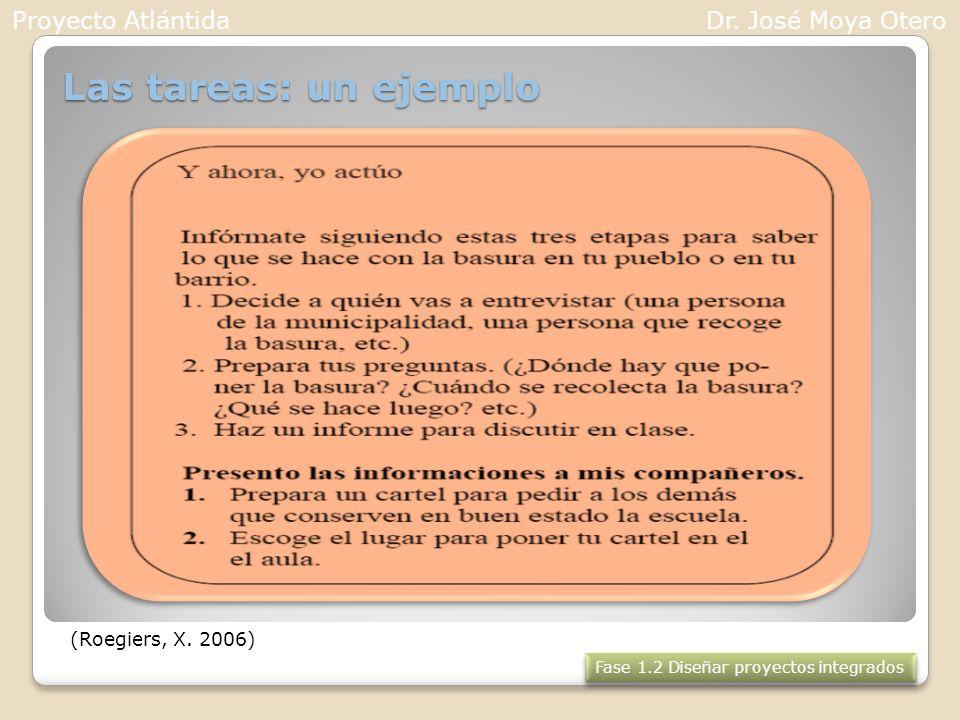 Las tareas: un ejemplo (Roegiers, X. 2006) Fase 1.2 Diseñar proyectos integrados Proyecto AtlántidaDr. José Moya Otero