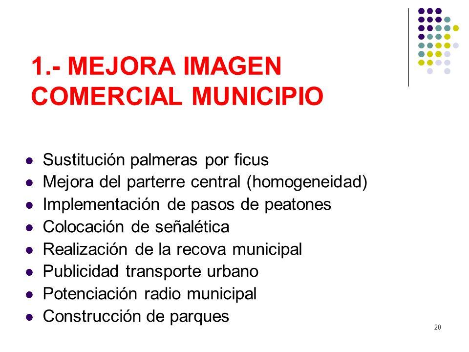 20 1.- MEJORA IMAGEN COMERCIAL MUNICIPIO Sustitución palmeras por ficus Mejora del parterre central (homogeneidad) Implementación de pasos de peatones