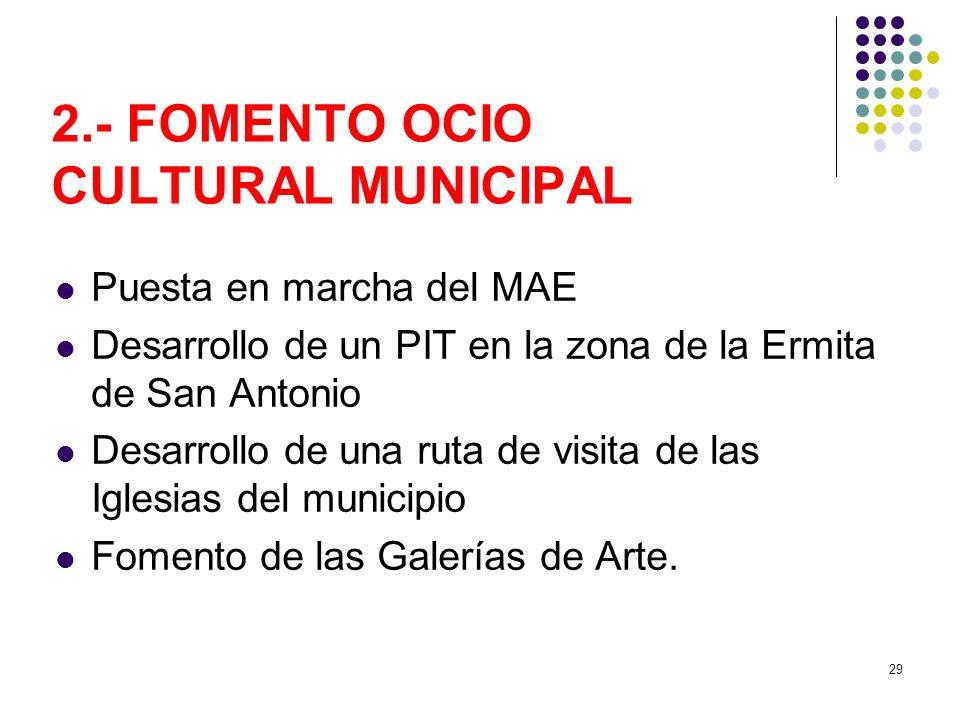 29 2.- FOMENTO OCIO CULTURAL MUNICIPAL Puesta en marcha del MAE Desarrollo de un PIT en la zona de la Ermita de San Antonio Desarrollo de una ruta de