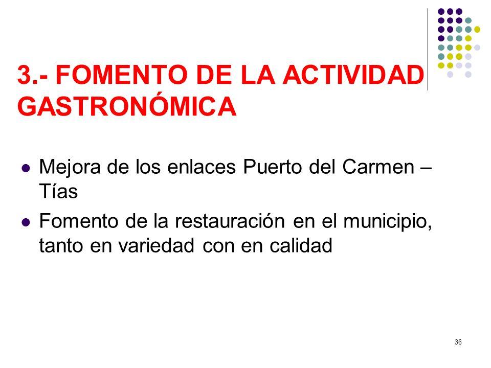 36 3.- FOMENTO DE LA ACTIVIDAD GASTRONÓMICA Mejora de los enlaces Puerto del Carmen – Tías Fomento de la restauración en el municipio, tanto en varied