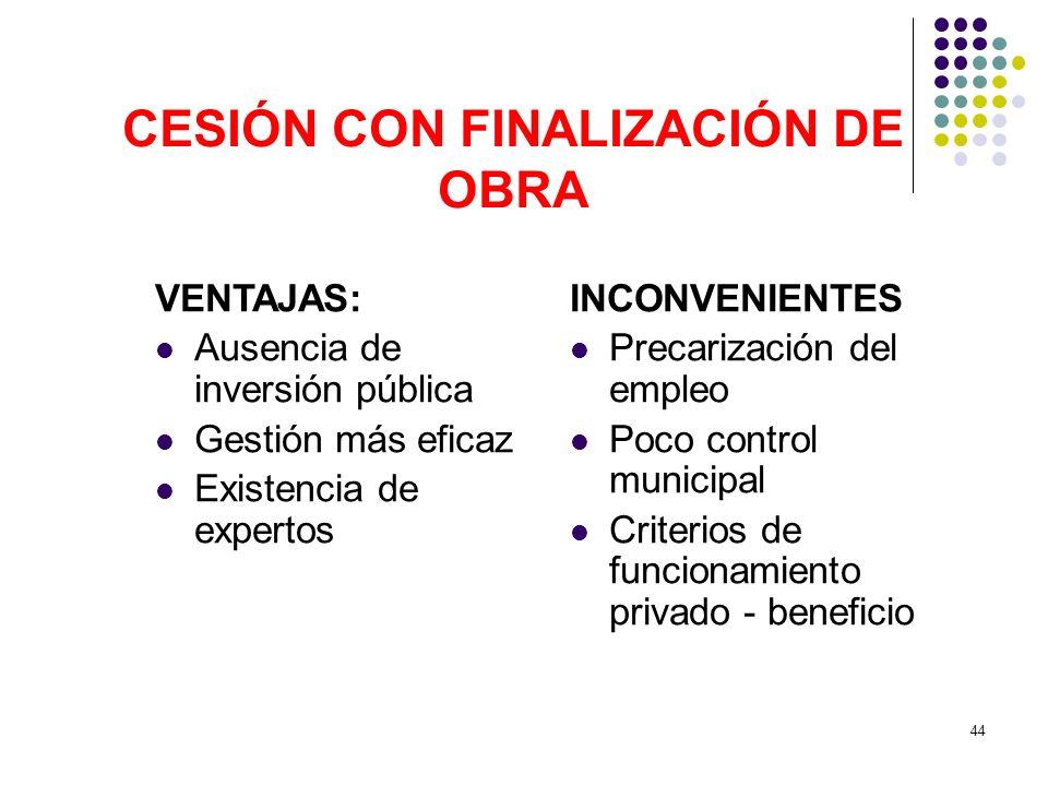 44 CESIÓN CON FINALIZACIÓN DE OBRA VENTAJAS: Ausencia de inversión pública Gestión más eficaz Existencia de expertos INCONVENIENTES Precarización del