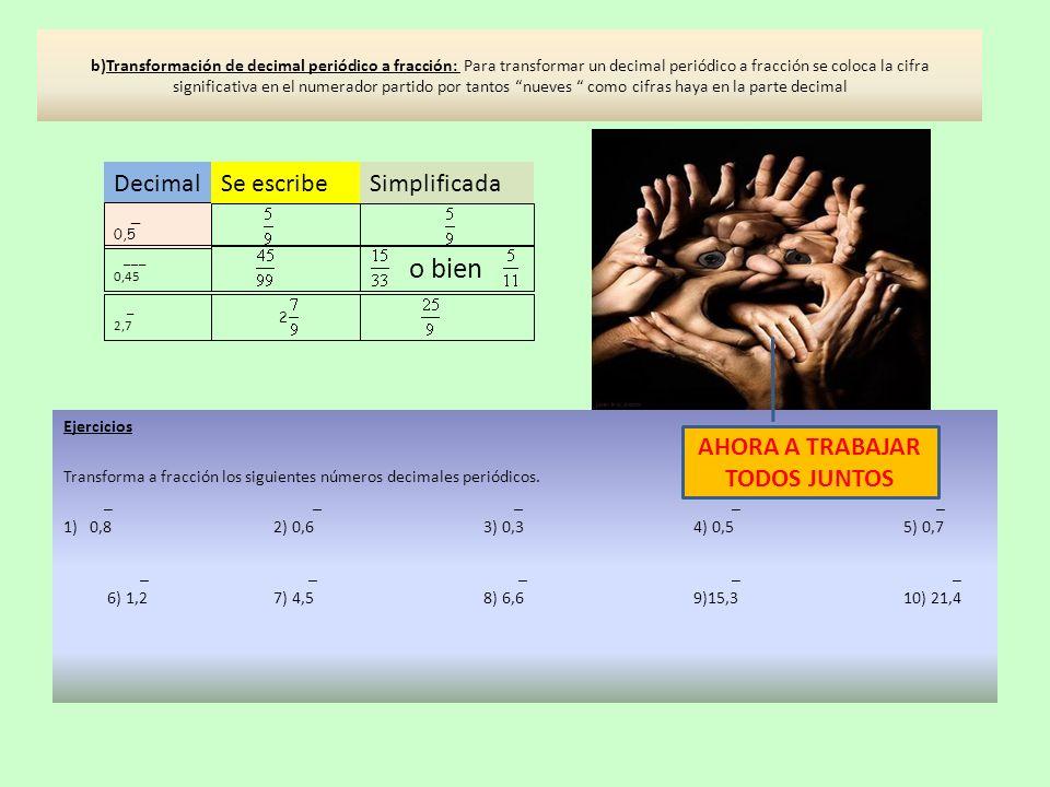b)Transformación de decimal periódico a fracción: Para transformar un decimal periódico a fracción se coloca la cifra significativa en el numerador pa