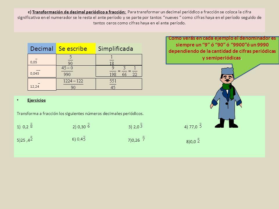 c) Transformación de decimal periódico a fracción: Para transformar un decimal periódico a fracción se coloca la cifra significativa en el numerador s