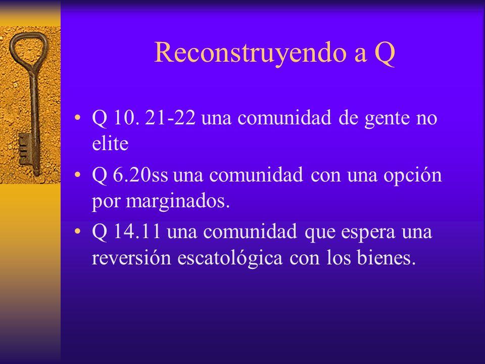 Reconstruyendo a Q Q 10. 21-22 una comunidad de gente no elite Q 6.20ss una comunidad con una opción por marginados. Q 14.11 una comunidad que espera