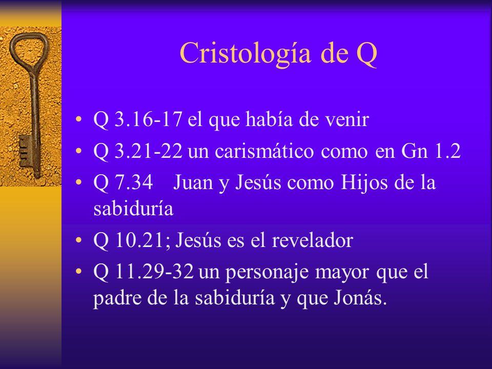 Cristología de Q Q 3.16-17 el que había de venir Q 3.21-22 un carismático como en Gn 1.2 Q 7.34Juan y Jesús como Hijos de la sabiduría Q 10.21; Jesús