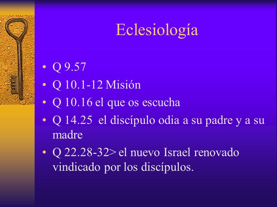 Eclesiología Q 9.57 Q 10.1-12 Misión Q 10.16 el que os escucha Q 14.25 el discípulo odia a su padre y a su madre Q 22.28-32> el nuevo Israel renovado