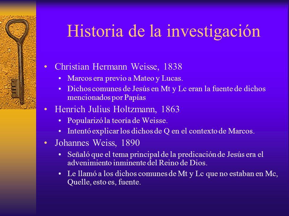 Historia de la investigación Christian Hermann Weisse, 1838 Marcos era previo a Mateo y Lucas. Dichos comunes de Jesús en Mt y Lc eran la fuente de di