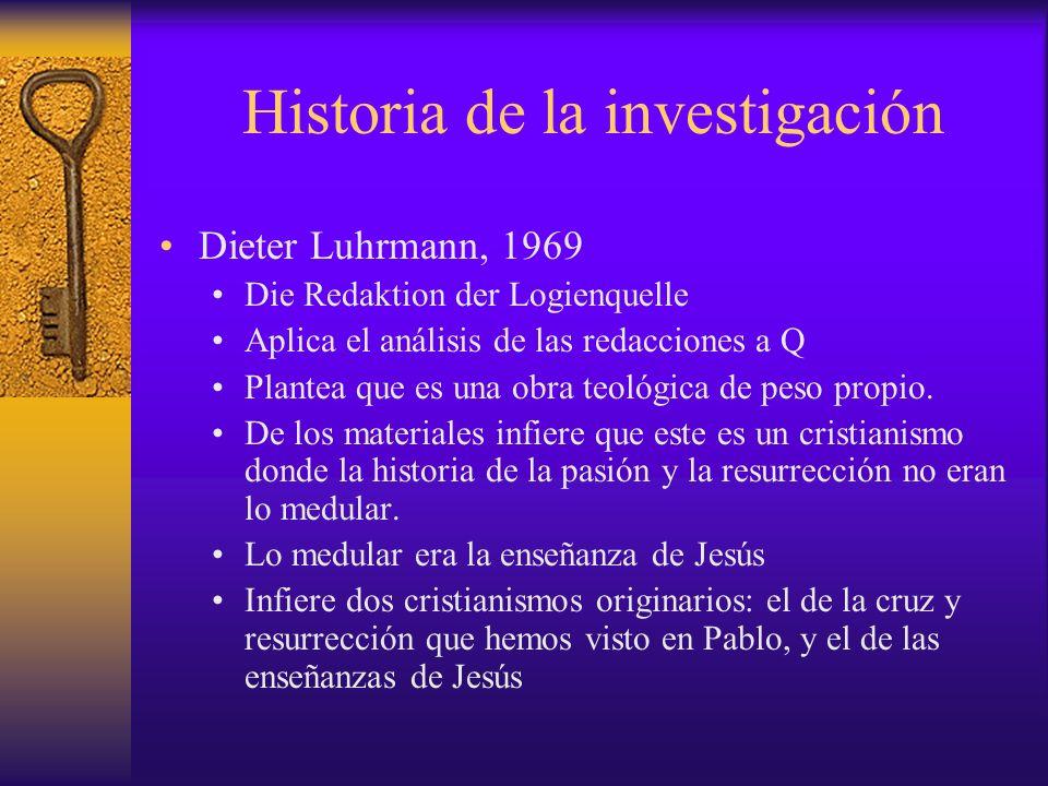 Historia de la investigación Dieter Luhrmann, 1969 Die Redaktion der Logienquelle Aplica el análisis de las redacciones a Q Plantea que es una obra te