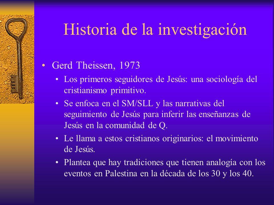 Historia de la investigación Gerd Theissen, 1973 Los primeros seguidores de Jesús: una sociología del cristianismo primitivo. Se enfoca en el SM/SLL y