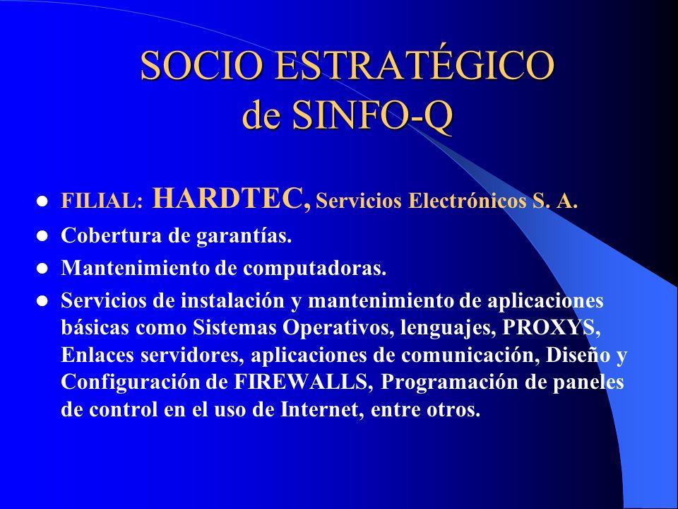 SOCIO ESTRATÉGICO de SINFO-Q FILIAL: HARDTEC, Servicios Electrónicos S. A. Cobertura de garantías. Mantenimiento de computadoras. Servicios de instala