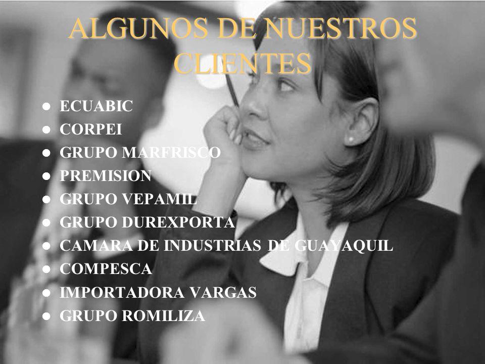 ALGUNOS DE NUESTROS CLIENTES ECUABIC CORPEI GRUPO MARFRISCO PREMISION GRUPO VEPAMIL GRUPO DUREXPORTA CAMARA DE INDUSTRIAS DE GUAYAQUIL COMPESCA IMPORT