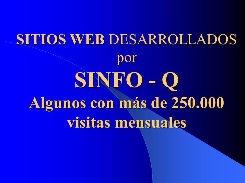 SITIOS WEB DESARROLLADOS por SINFO - Q Algunos con más de 250.000 visitas mensuales