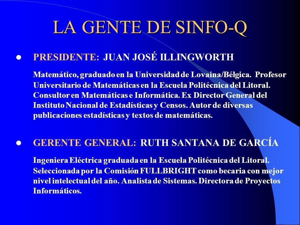 LA GENTE DE SINFO-Q PRESIDENTE: JUAN JOSÉ ILLINGWORTH Matemático, graduado en la Universidad de Lovaina/Bélgica. Profesor Universitario de Matemáticas