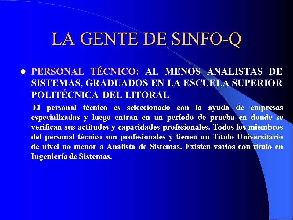 LA GENTE DE SINFO-Q PERSONAL TÉCNICO: AL MENOS ANALISTAS DE SISTEMAS, GRADUADOS EN LA ESCUELA SUPERIOR POLITÉCNICA DEL LITORAL El personal técnico es