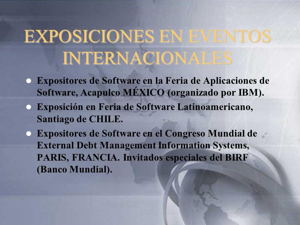 EXPOSICIONES EN EVENTOS INTERNACIONALES Expositores de Software en la Feria de Aplicaciones de Software, Acapulco MÉXICO (organizado por IBM). Exposic