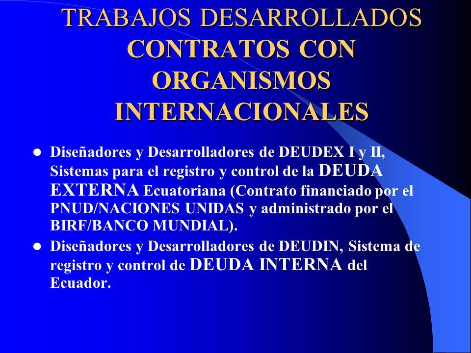 TRABAJOS DESARROLLADOS (CONTINUACIÓN) PRODUCTOS EN SERIE Producción y múltiples Exportaciones del Software SINFOCAM, Sistema de Información para el Control de Camaroneras, a países como Colombia, Perú, México, Honduras.