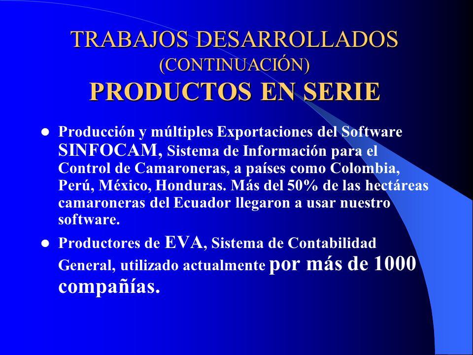 TRABAJOS DESARROLLADOS (CONTINUACIÓN) PRODUCTOS EN SERIE Productores de otros Sistemas Paquetes (en serie) como SINFOLAB (para Laboratorios de larvas), SINFOPAC (Empacadoras de Camarón), SINFONEG (sistema para Negocios), BANACOMP (Sistema para Bananeras), etc.