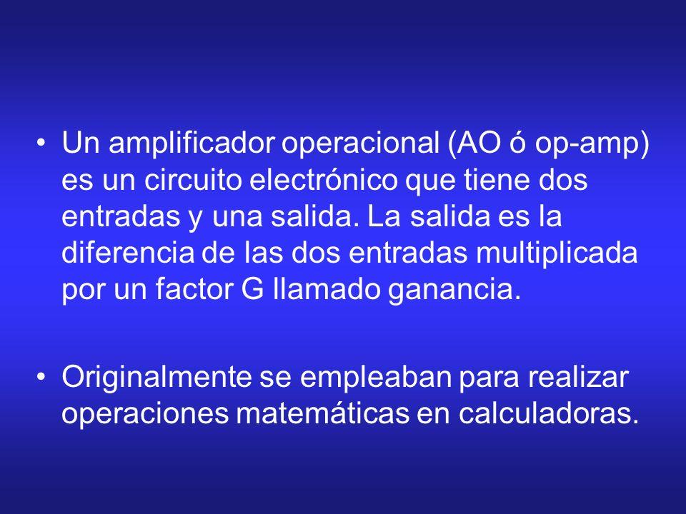 Un amplificador operacional (AO ó op-amp) es un circuito electrónico que tiene dos entradas y una salida. La salida es la diferencia de las dos entrad