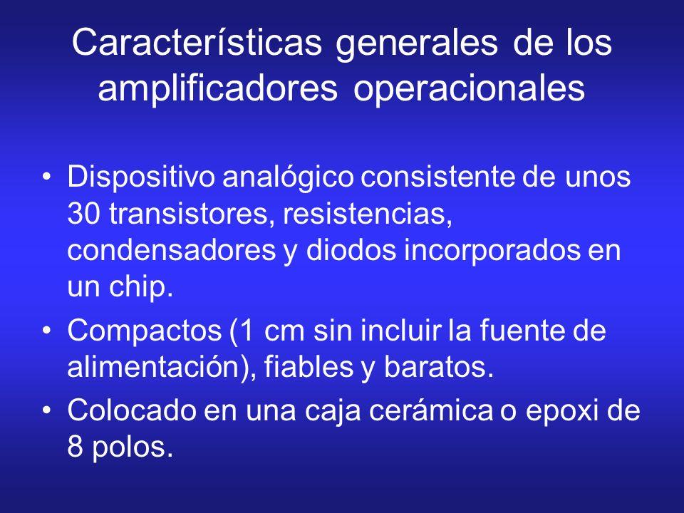 Características generales de los amplificadores operacionales Dispositivo analógico consistente de unos 30 transistores, resistencias, condensadores y