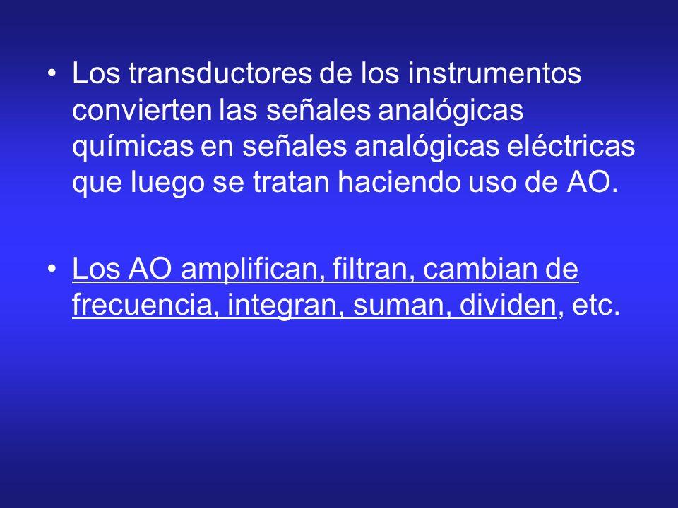 Los transductores de los instrumentos convierten las señales analógicas químicas en señales analógicas eléctricas que luego se tratan haciendo uso de