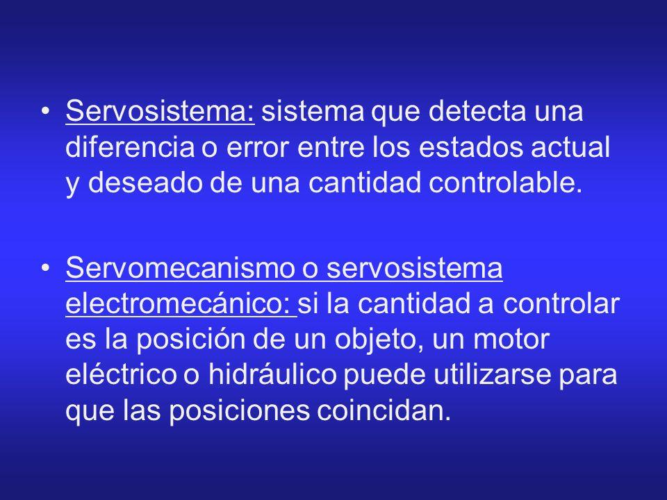 Servosistema: sistema que detecta una diferencia o error entre los estados actual y deseado de una cantidad controlable. Servomecanismo o servosistema