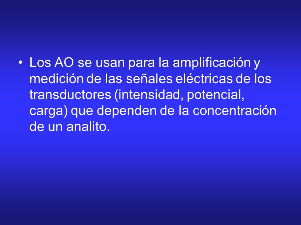 Los AO se usan para la amplificación y medición de las señales eléctricas de los transductores (intensidad, potencial, carga) que dependen de la conce