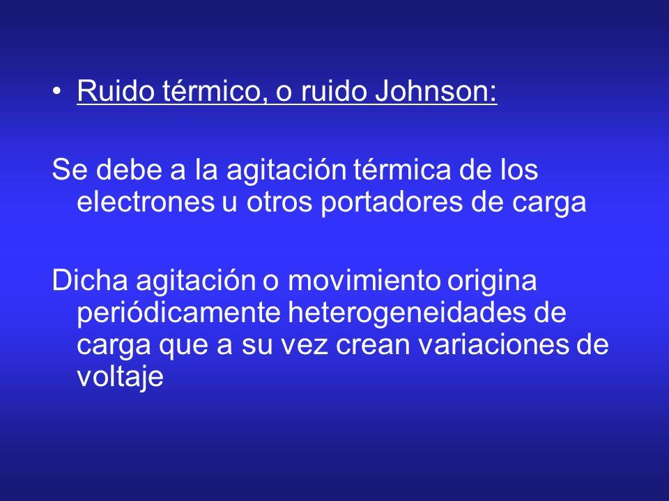 Ruido térmico, o ruido Johnson: Se debe a la agitación térmica de los electrones u otros portadores de carga Dicha agitación o movimiento origina peri