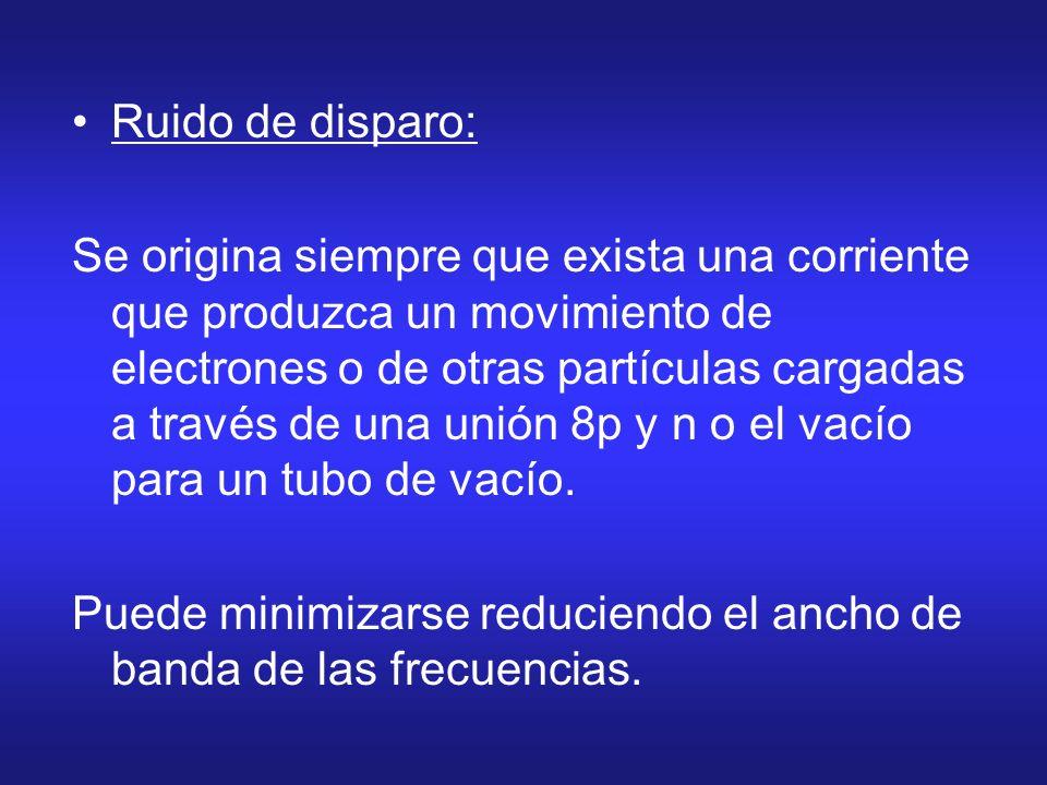 Ruido de disparo: Se origina siempre que exista una corriente que produzca un movimiento de electrones o de otras partículas cargadas a través de una