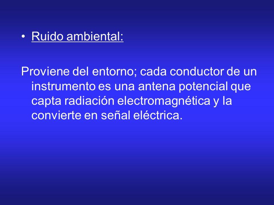 Ruido ambiental: Proviene del entorno; cada conductor de un instrumento es una antena potencial que capta radiación electromagnética y la convierte en