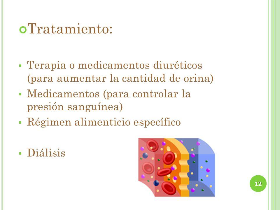 Tratamiento: Terapia o medicamentos diuréticos (para aumentar la cantidad de orina) Medicamentos (para controlar la presión sanguínea) Régimen aliment
