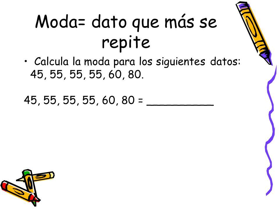 Moda= dato que más se repite Calcula la moda para los siguientes datos: 45, 55, 55, 55, 60, 80. 45, 55, 55, 55, 60, 80 = __________