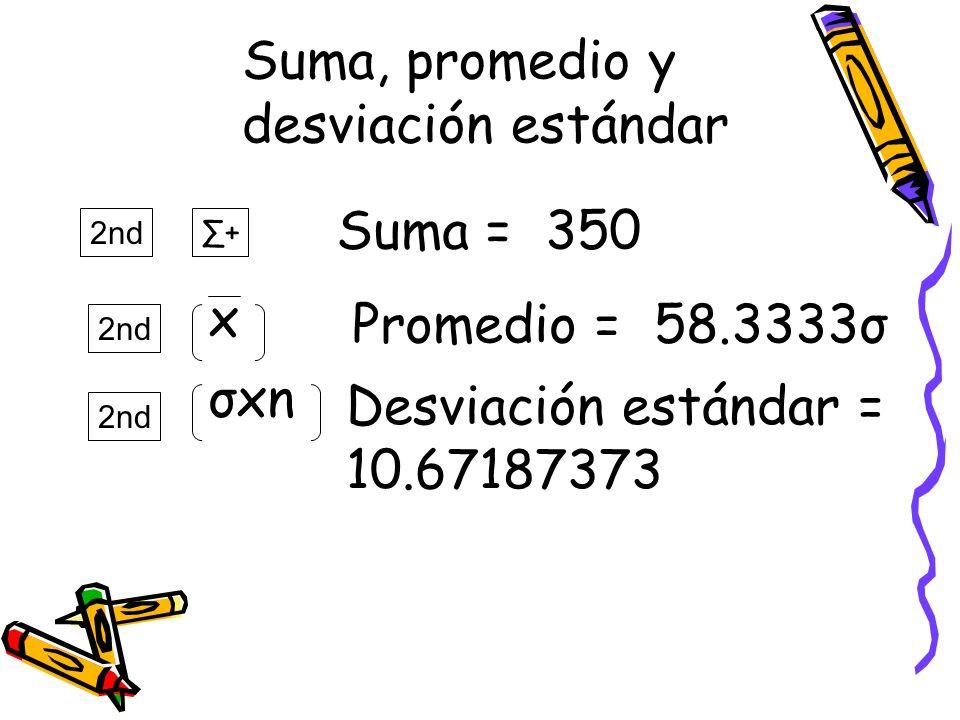 Suma, promedio y desviación estándar 2nd + Suma = 350 2nd x Promedio = 58.3333σ 2nd σxn Desviación estándar = 10.67187373