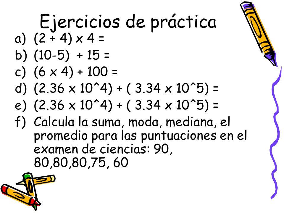 Ejercicios de práctica a)(2 + 4) x 4 = b)(10-5) + 15 = c)(6 x 4) + 100 = d)(2.36 x 10^4) + ( 3.34 x 10^5) = e)(2.36 x 10^4) + ( 3.34 x 10^5) = f)Calcu