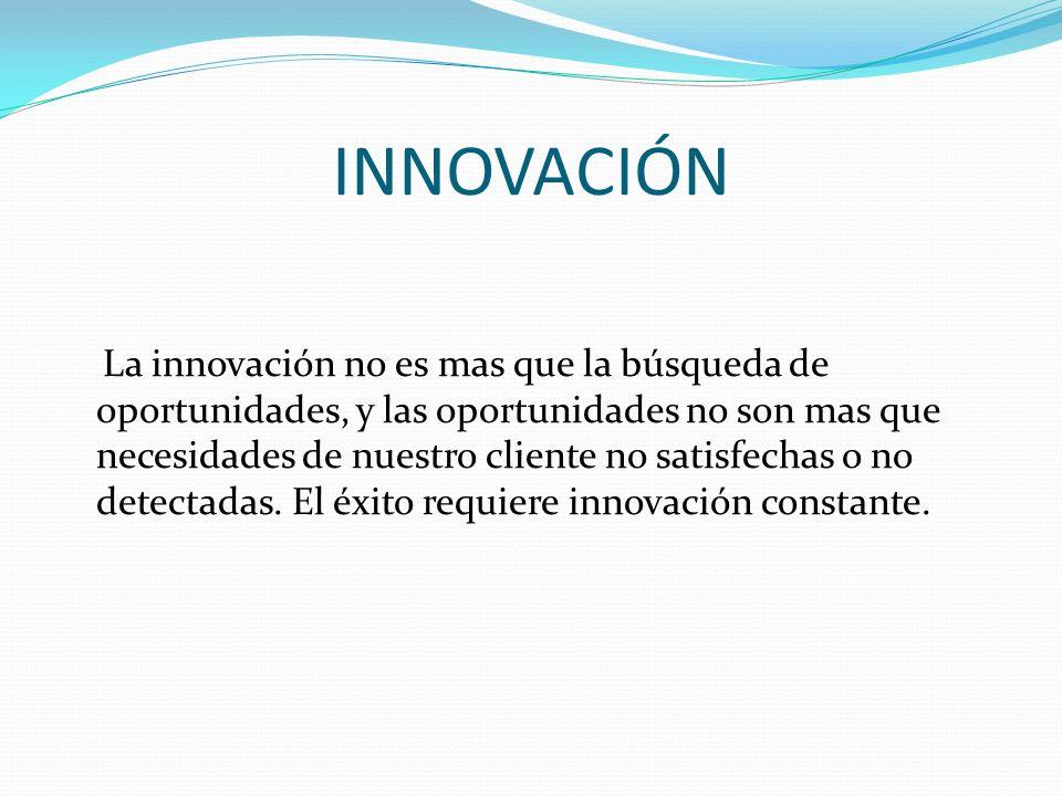 INNOVACIÓN La innovación no es mas que la búsqueda de oportunidades, y las oportunidades no son mas que necesidades de nuestro cliente no satisfechas