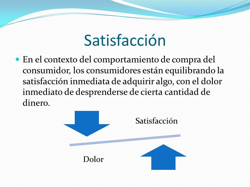 Satisfacción Dolor Satisfacción En el contexto del comportamiento de compra del consumidor, los consumidores están equilibrando la satisfacción inmedi